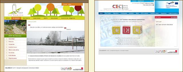 Web del CEIP Vía Romana y web del Proyecto CEC