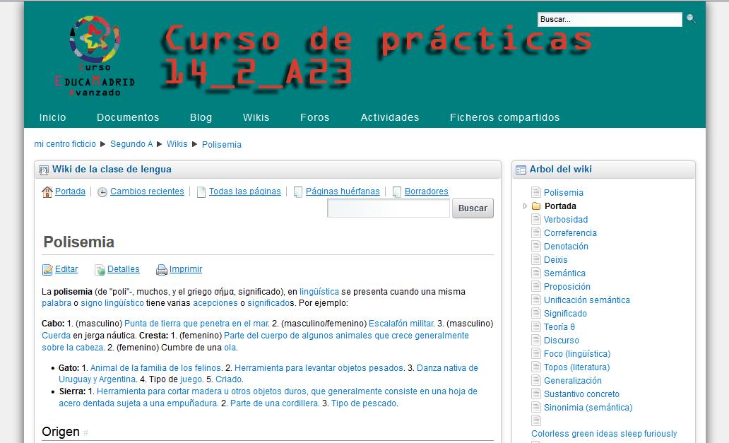 Ejemplo de cabecera en espacio web de EducaMadrid